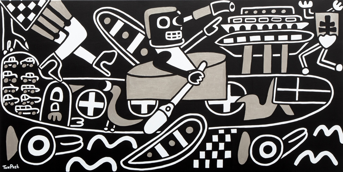 I had a dream in black white and silver 160cm x 80cm acrylic on canvas