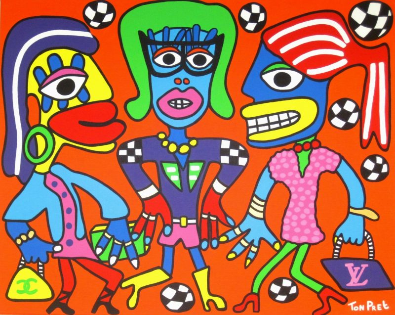 Feel like a WAG with Magali Gorre Sylvie Meis and Yolanthe Cabau 100cm x 80cm in commission SOLD