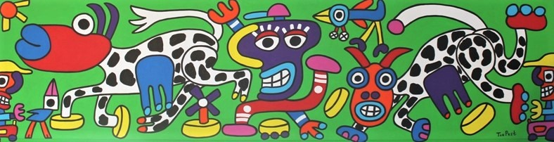 Real happy Dutch cows in the field 245cm x 63cm acrylic on wooden panel SOLD