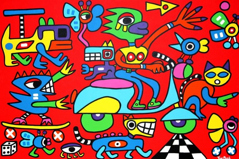 Surrounded by real friends 150cm x 100cm acrylic on canvas SOLD