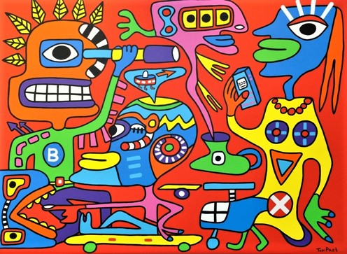 The world in balance 160cm x 120cm acrylic on canvas SOLD