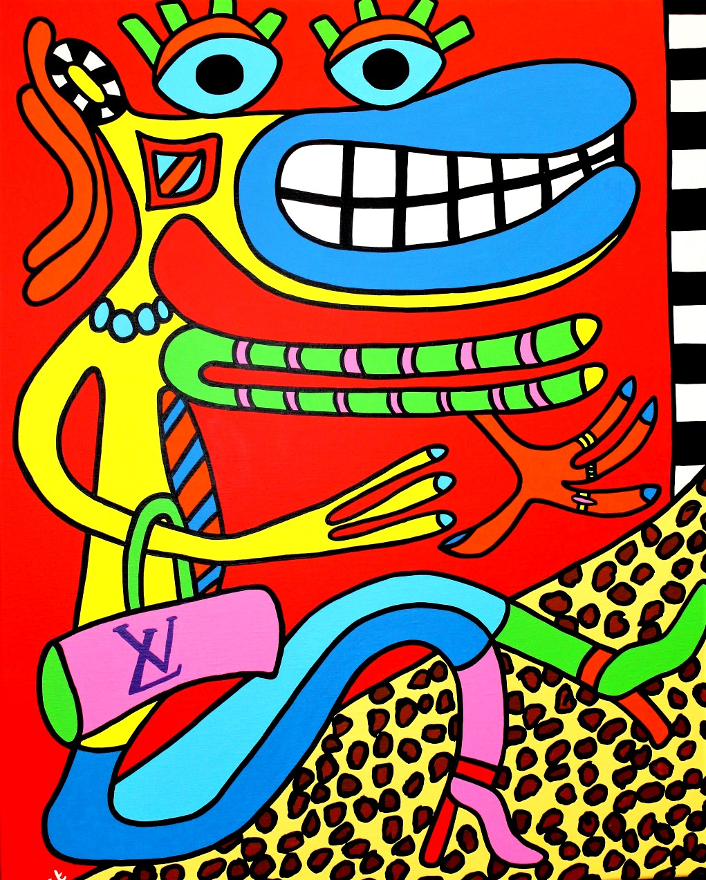 Fashionista with Louis Vuitton bag 80cm x 100cm acrylic on canvas SOLD