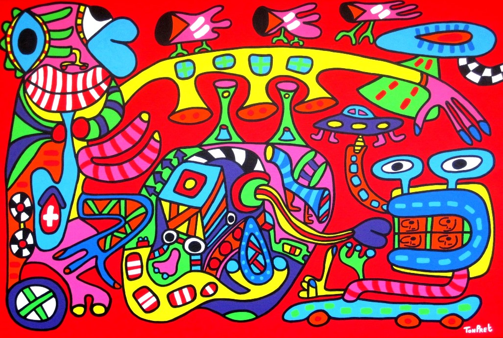 Tiki and the art of anaesthesia 150cm x 100cm acrylic on canvas SOLD