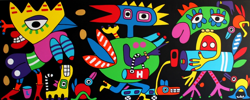 We Are Different Chickens But We All Live In Paradise 250cmx100cm acrylic on canvas SOLD
