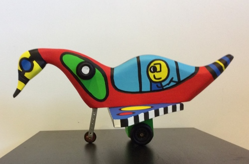 Sculpture Free as a bird ca 40cm made of waste materials like wood, iron and plastic part 1