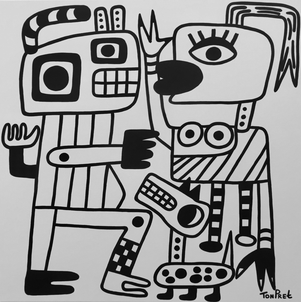 Meeting at the park 100cm x 100cm black/white edition acrylic on canvas