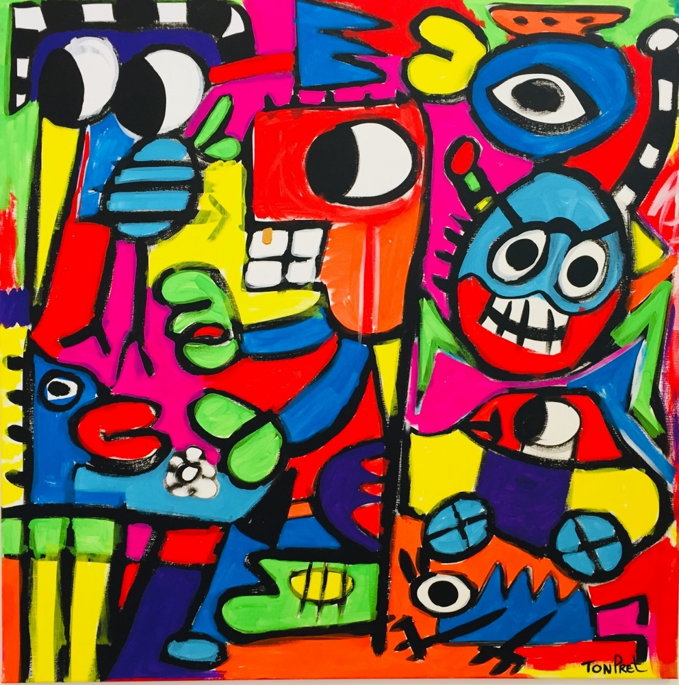 New Rock and Raw style. Things happen 100cm x 100cm acrylic on canvas SOLD