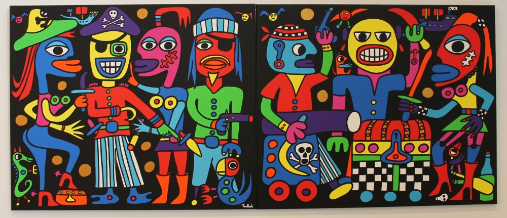 We are the pirates, meet the pirates 240cm x 100cm double panel acrylic on canvas SOLD