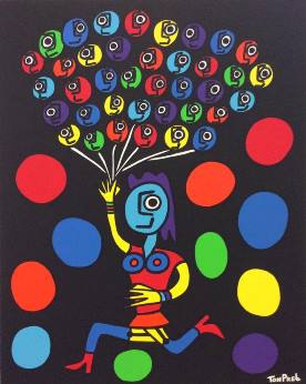 Escape from darkness with a smile 80cm x 100cm