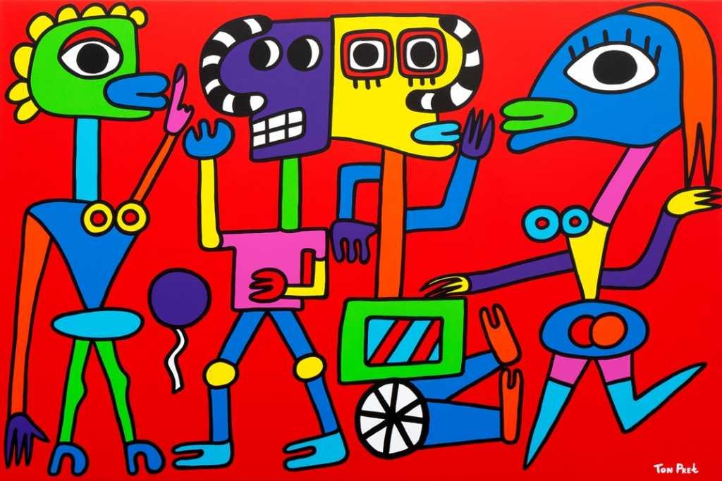 Long Necks, acrylic on canvas 150cm x100cm