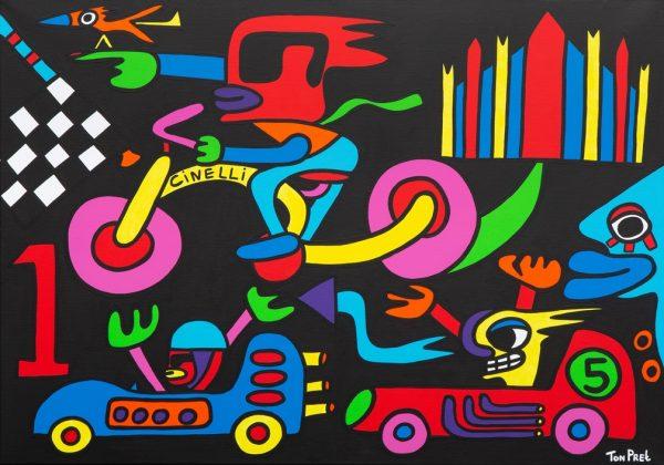 Cinelli design Milano 100cm x 80cm acrylic on canvas