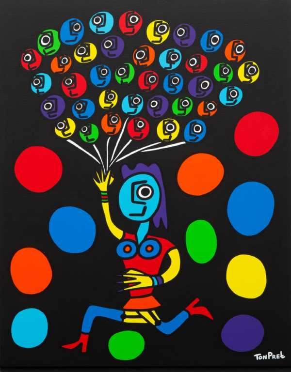 Escape from darkness with a smile 80cm x 100cm acrylic