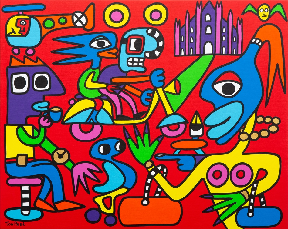 Milan city life 100cm x 80cm acrylic on canvas
