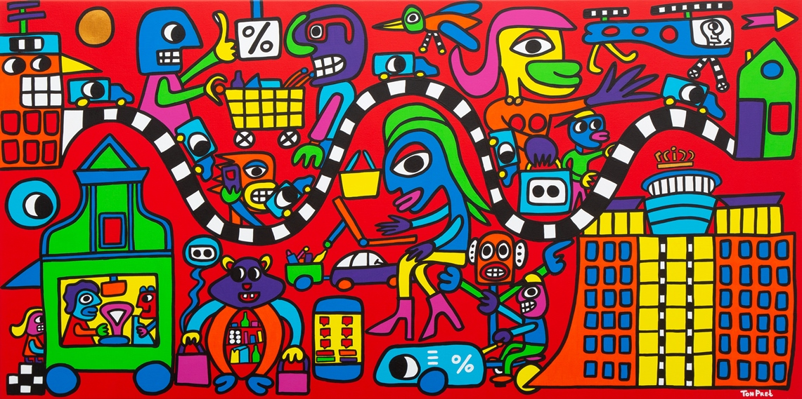 Supermarket shopping time 160cm x 80cm acrylic on canvas