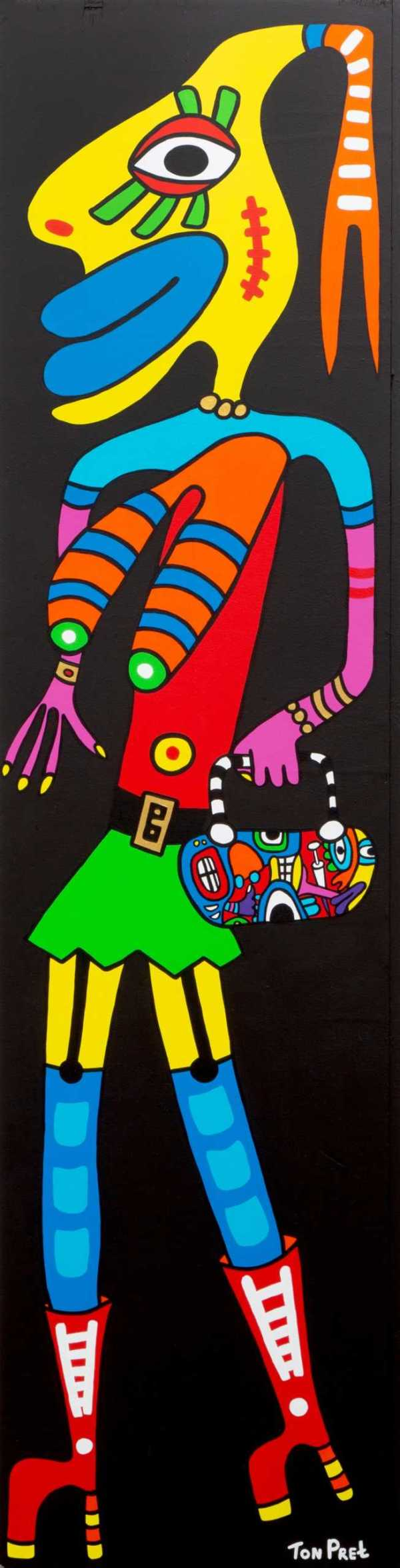 The lady is a tramp ca 63cm x 245cm acrylic on wooden panel