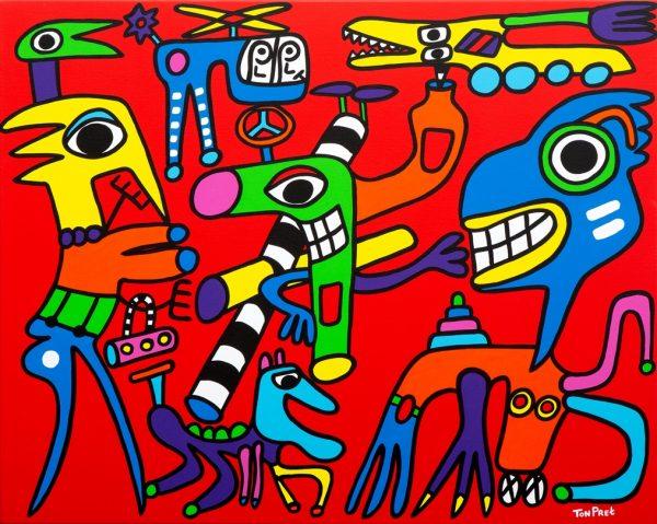 Love through you tube 100cm x 80cm acrylic on canvas