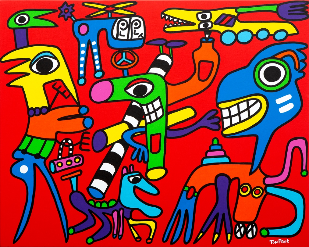 Love through you tube 100cm x 80cm acrylic on canvas