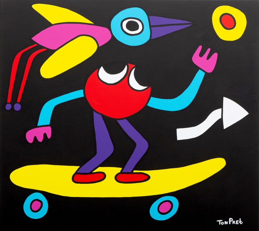 Mr. TonTon keep your balance 100cm x 90cm acrylic on canvas