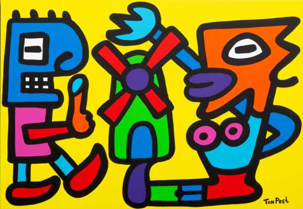 Tourists visiting Holland 100cm x 70cm acrylic on canvas experimenta