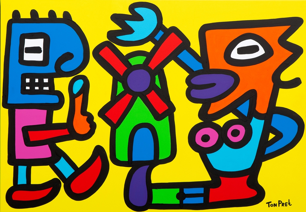 Tourists visiting Holland 100cm x 70cm acrylic on canvas experimenta