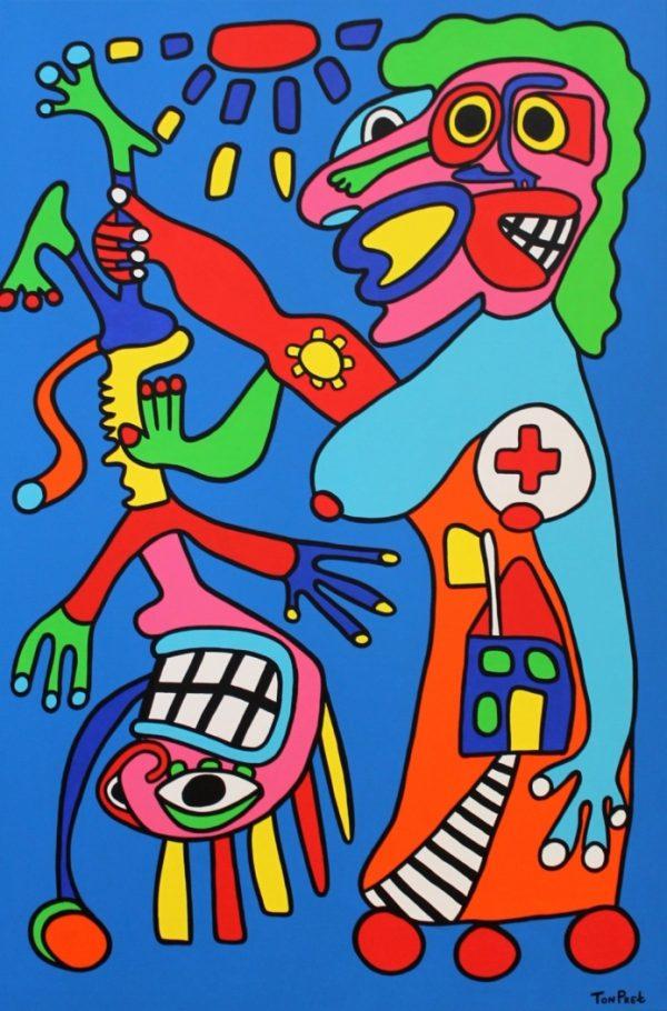 Mother instinct 100cm x 150cm acrylic paint on canvas