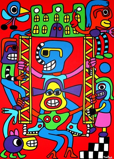 Our home is our happy castle 145cmx95cm acrylic on wooden ceiling panel SOLD