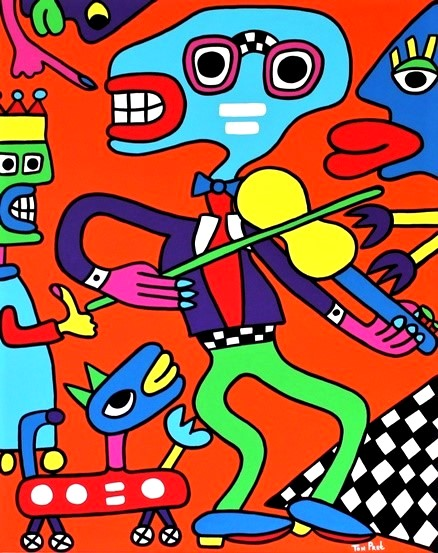 Pascal the violin man 100cm x 80cm acrylic on canvas SOLD