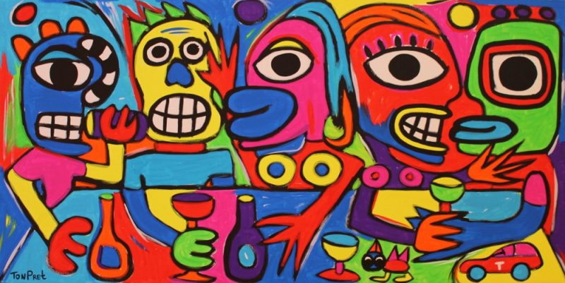 New Rock and Raw style. Drinking and more 160cm x 80cm acrylic on canvas
